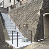外階段の亀裂補修と塗装