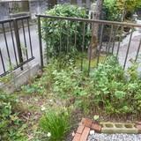 花壇の撤去とレンガの回収